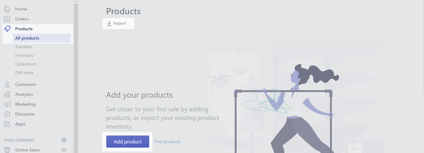 add products to shopify store
