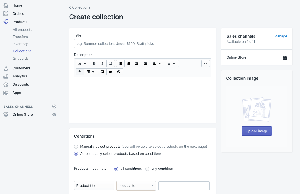 create collection on shopify store